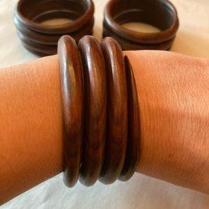 3 spiral wood bracelets